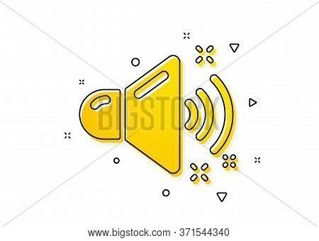 Music Sound Sign. Loud Sound Icon. Musical Device Symbol. Yellow Circles Pattern. Classic Loud Sound