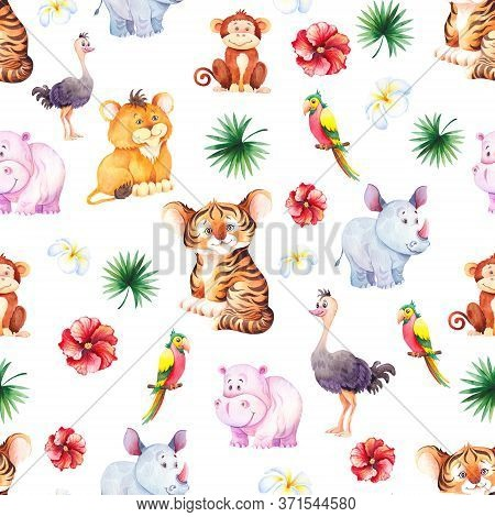 Seamless Pattern With Cute African Animals. Little Tiger, Lion, Rhino, Hippo And Monkey Cubs. Waterc