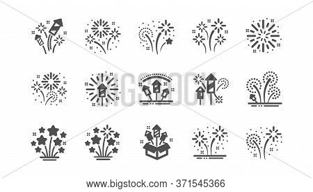 Firework Salute Icons Set. Christmas Explosive Pyrotechnic, Carnival Celebration And Festival Lights