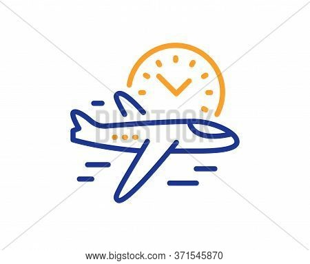 Flight Time Line Icon. Airplane With Clock Sign. Airport Flights Symbol. Colorful Thin Line Outline