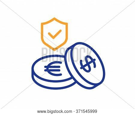 Savings Insurance Line Icon. Risk Coverage Sign. Money Protection Symbol. Colorful Thin Line Outline