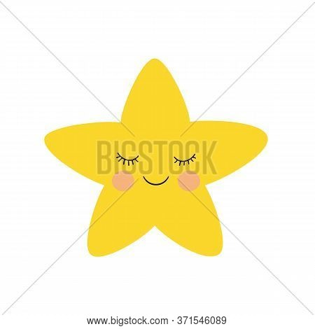 Little Yellow Star Funny Face. Vector Illustration.