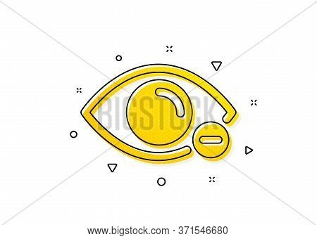 Eye Diopter Sign. Myopia Icon. Optometry Vision Symbol. Yellow Circles Pattern. Classic Myopia Icon.