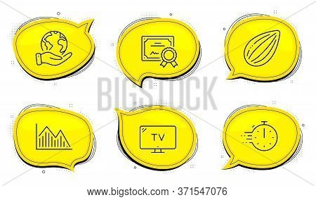 Cooking Timer Sign. Diploma Certificate, Save Planet Chat Bubbles. Investment Graph, Tv And Almond N
