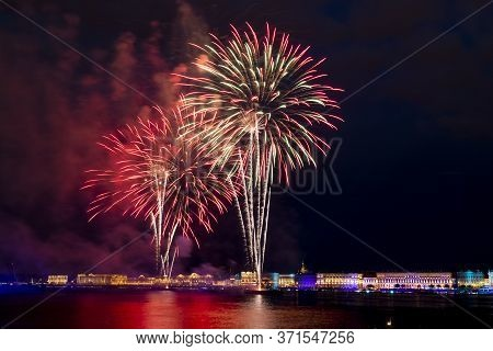 Petersburg.russia.21 June 2014.st. The Fireworks And A Laser Show In The Waters Of The Neva River In