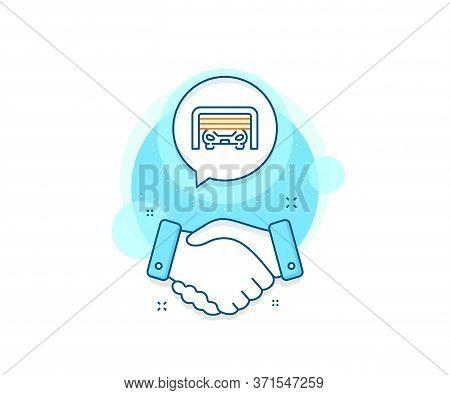 Auto Park Sign. Handshake Deal Complex Icon. Parking Garage Line Icon. Car Place Symbol. Agreement S