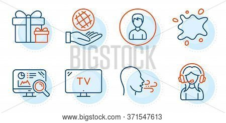 Tv, Safe Planet And Support Signs. Breathing Exercise, Surprise Package And Person Line Icons Set. D