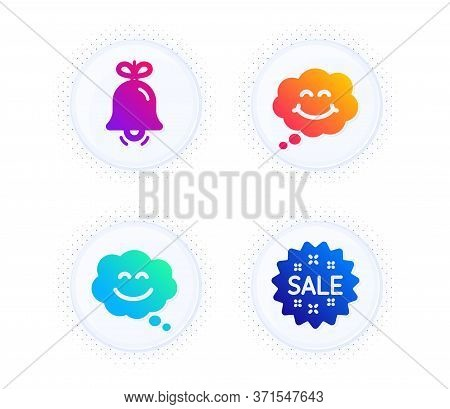 Smile Chat, Bell And Smile Icons Simple Set. Button With Halftone Dots. Sale Sign. Happy Face, Alarm