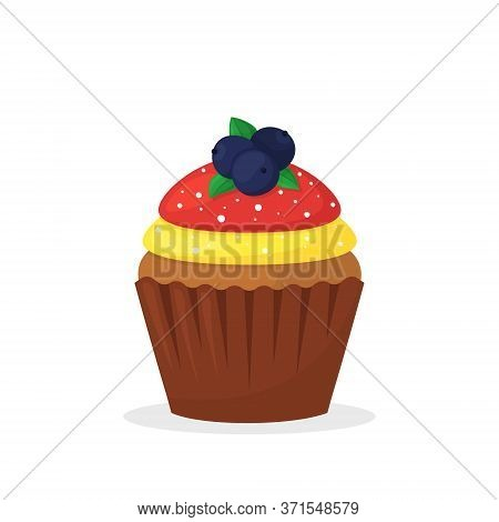 Chocolate Muffin With Berries, Yellow And Red Cream. Sweet Food, Cute Cupcake With Frosting Flat Vec