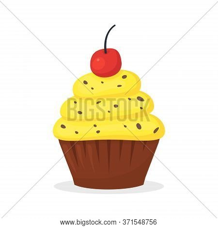 Chocolate Muffin With Yellow Cream And Cherry On The Top. Sweet Food, Cupcake With Frosting Flat Vec