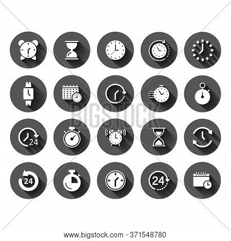 Time Icon Set In Flat Style. Agenda Clock Vector Illustration On Black Round Background With Long Sh