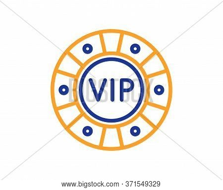 Vip Poker Chip Line Icon. Very Important Person Casino Sign. Member Club Privilege Symbol. Colorful