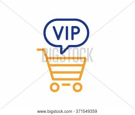 Vip Shopping Cart Line Icon. Very Important Person Sign. Member Club Privilege Symbol. Colorful Thin
