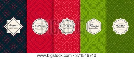Christmas Vector Seamless Patterns Collection. Set Of Colorful Holiday Background Swatches With Eleg