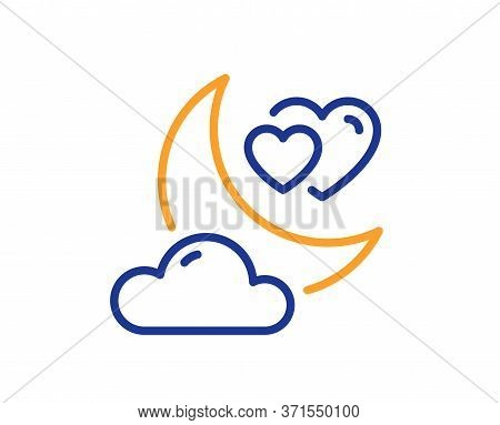 Love Night Line Icon. Valentines Day Evening Sign. Couple Relationships Symbol. Colorful Thin Line O