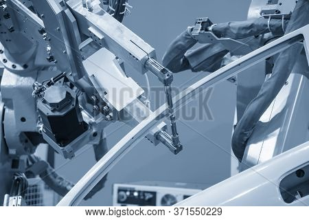The Spot Welding Robots Assembly The   Automotive Parts. The Hi Technology Automobile Manufacturing