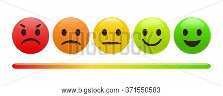 Emotion Feedback Scale. Includes Such Emoticon As Angry, Sad, Neutral, Joy And Happy Expression, Arr