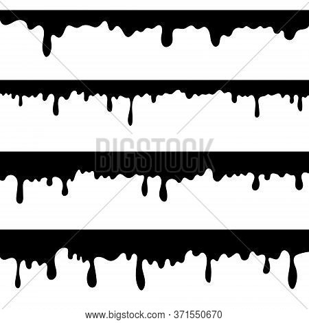 Paint Dripping, Black Liquid Or Melted Chocolate Drips . Drip Splash Border, Trickle Leak Vector Ill