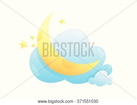Moon Stars And Clouds Cute Kids Cartoon Illustration. Baby Print Design, Wall Decoration Or Decal Ca