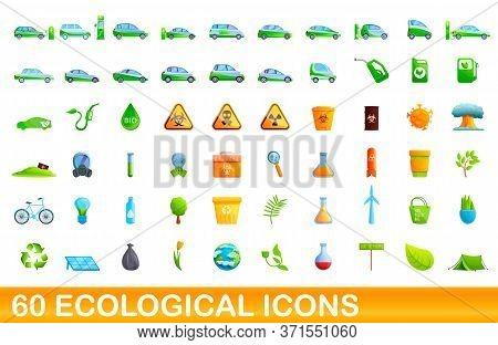 60 Ecological Icons Set. Cartoon Illustration Of 60 Ecological Icons Vector Set Isolated On White Ba