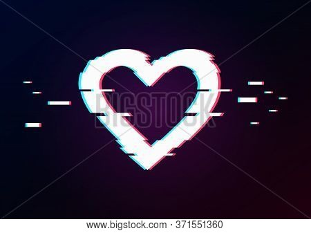 Glowing Heart And Arrow With Glitch Effect On Dark Gradient. Background In Tv Error Style. Happiness