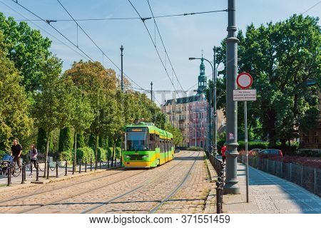 POZNAN, POLAND - September 2, 2019: Street view of Poznan city, Poland