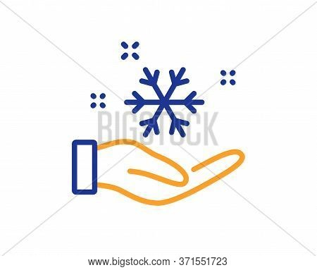 Freezing Hand Line Icon. Ac Cold Temperature Sign. Fridge Function Symbol. Colorful Thin Line Outlin