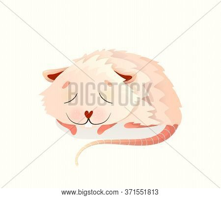 Cute Mouse Or Hamster Sleeping Eyes Closed, Sweet Baby Rodent For Kids. Watercolor Style Vector Cart