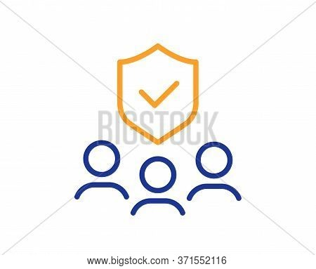 People Insurance Line Icon. Health Coverage Sign. Life Protection Policy Symbol. Colorful Thin Line