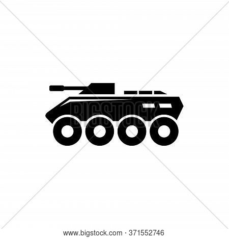 Military Btr, Armored Personnel Carrier. Flat Vector Icon Illustration. Simple Black Symbol On White