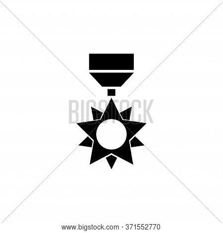 Military Reward Medal, Veteran Order. Flat Vector Icon Illustration. Simple Black Symbol On White Ba
