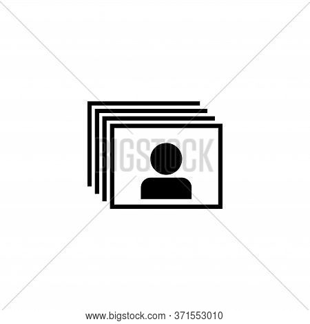 Head Hunting, Resume, Portfolio Search. Flat Vector Icon Illustration. Simple Black Symbol On White