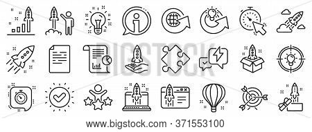 Launch Project, Business Report, Target Icons. Startup Line Icons. Strategy, Development Plan, Start