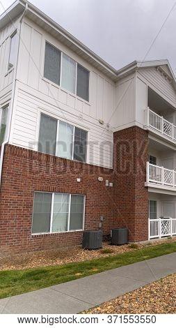 Vertical Receding View Of A Modern Apartment Complex
