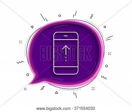 Swipe Up Phone Line Icon. Chat Bubble With Shadow. Scrolling Arrow Sign. Landing Page Scroll Symbol.