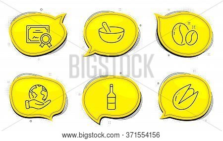 Wine Sign. Diploma Certificate, Save Planet Chat Bubbles. Cooking Mix, Coffee Beans And Pistachio Nu