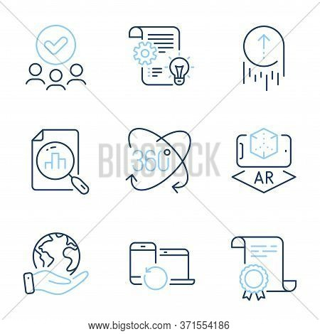 Augmented Reality, Swipe Up And Analytics Graph Line Icons Set. Diploma Certificate, Save Planet, Gr