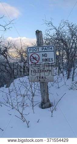 Vertical Hiking Trail Buried In Snow During Winter At The Terrain Of Wasatch Mountain