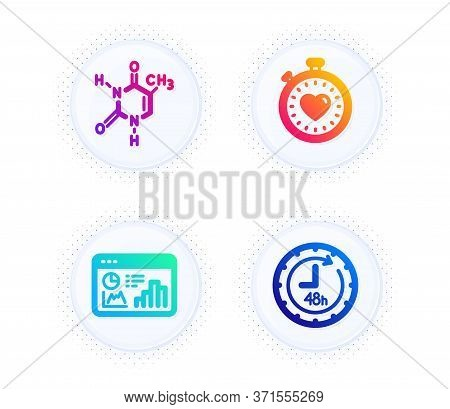 Chemical Formula, Heartbeat Timer And Seo Statistics Icons Simple Set. Button With Halftone Dots. 48