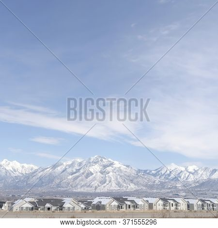 Square Crop Panoramic View Of South Jordan City Neighborhood And Wasatch Mountains In Winter