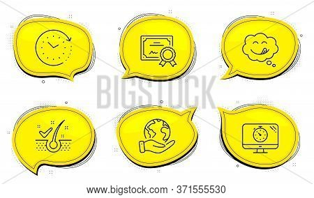 Yummy Smile Sign. Diploma Certificate, Save Planet Chat Bubbles. Anti-dandruff Flakes, Seo Timer And