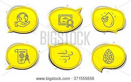 Water Drop Sign. Diploma Certificate, Save Planet Chat Bubbles. Windy Weather, Artificial Colors And