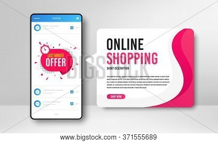 Phone Banner Template. Last Minute Badge. Hot Offer Chat Bubble Icon. Special Deal Label. Social Med
