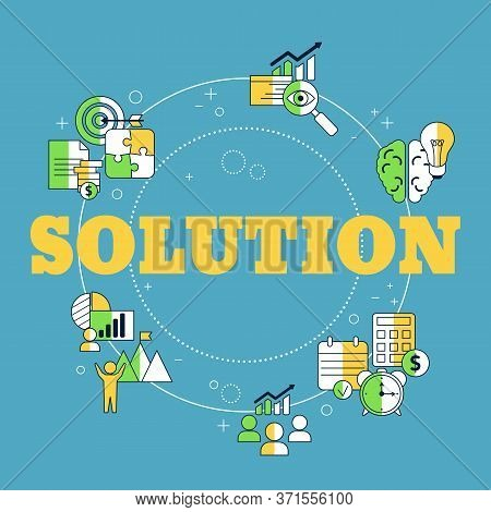Business Solutions Concept With Business Icons. Solution And Success, Strategy Vector Illustration