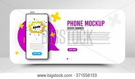 Boom Sale Badge. Phone Screen Mockup Banner. Discount Banner Shape. Coupon Bubble Icon. Social Media