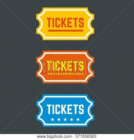 Colorful Retro Coupon With The Word Tickets. Admission One, Fair Pass, Cinema, Theater, Box Office,