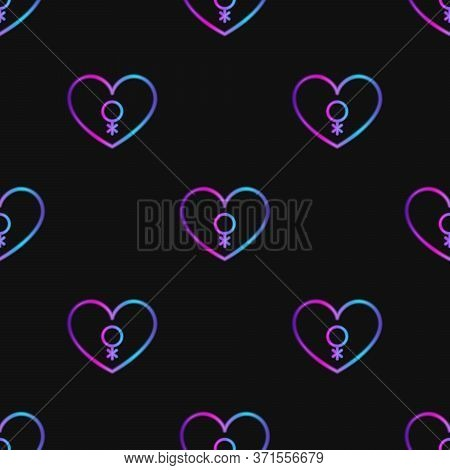 Seamless Pattern With Neon Heart With Genderqueer Symbol On Black Background