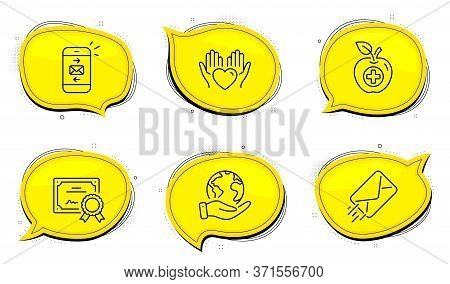 Medical Food Sign. Diploma Certificate, Save Planet Chat Bubbles. E-mail, Hold Heart And Mail Line I