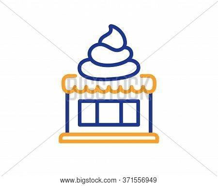 Ice Cream Shop Line Icon. Vanilla Sundae Sign. Frozen Summer Dessert Symbol. Colorful Thin Line Outl