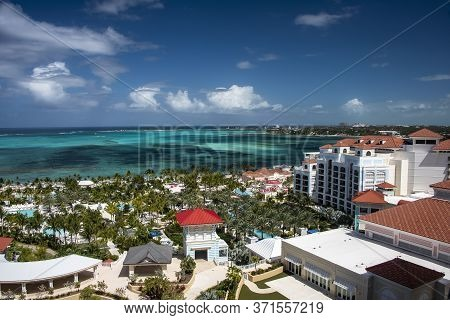 The Caribbean Sea And The Resort Destination In The Island Of Nassau, Bahamas